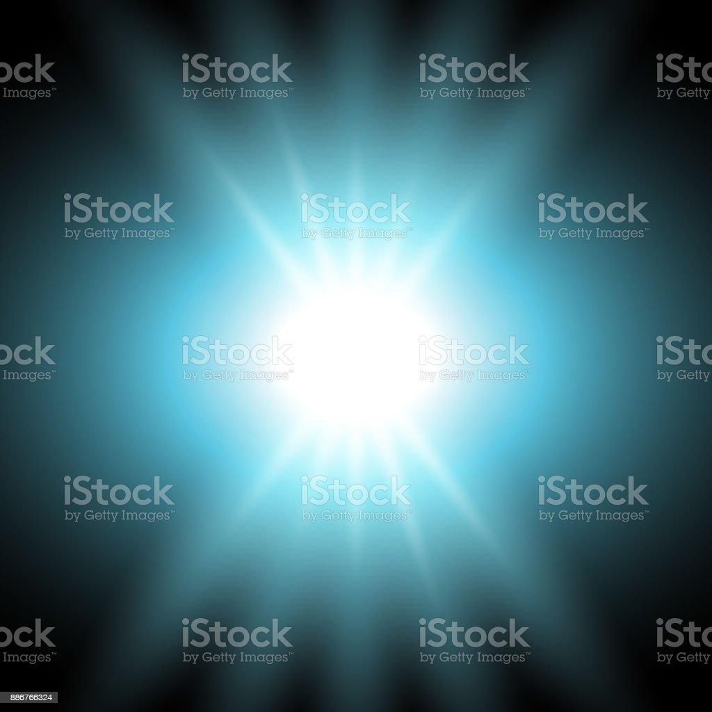 Rays of light, aqua color vector art illustration
