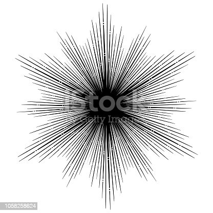 Rays of light. Irregular, chaotic beams. Tattoo design, yoga logo. Boho print, poster, t-shirt textile. EPS10 vector illustration