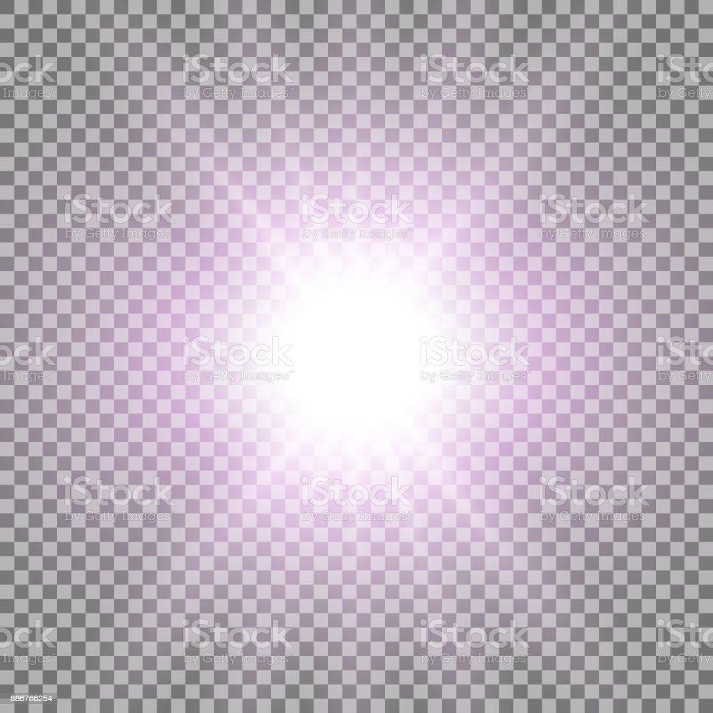 Rays of light, purple color vector art illustration