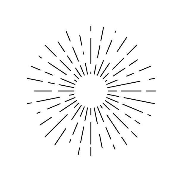 Rays sun Sun rays drawn symbol. Sunlight linear icon isolated on white background. Vector illustration sunbeam stock illustrations