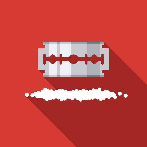 Razor Blade and Cocaine Drug Icon A flat design icon with a long shadow. File is built in the CMYK color space for optimal printing. Color swatches are global so it's easy to change colors across the document. blade stock illustrations