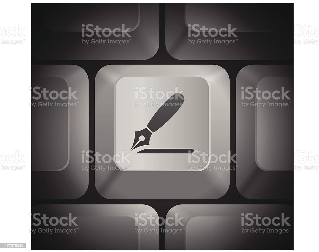 Razor Icon on Computer Keyboard royalty-free stock vector art