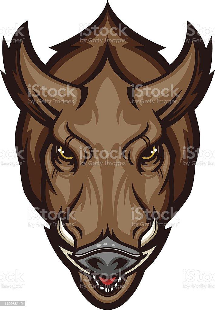 Razorback Charge II Brown vector art illustration