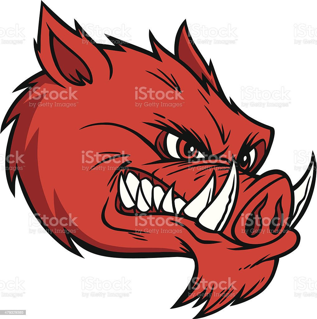 Razorback Mascot Extreme vector art illustration