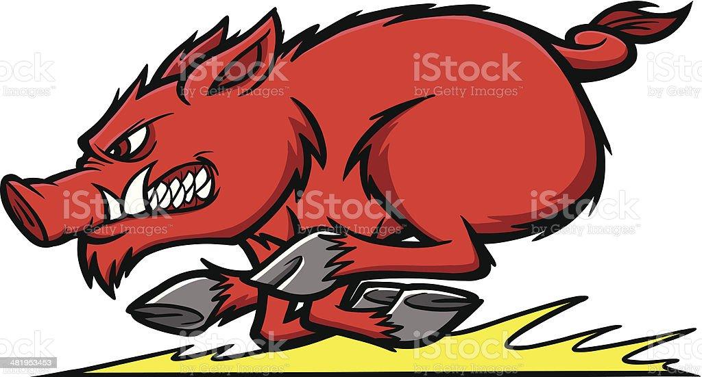 Razorback Run vector art illustration