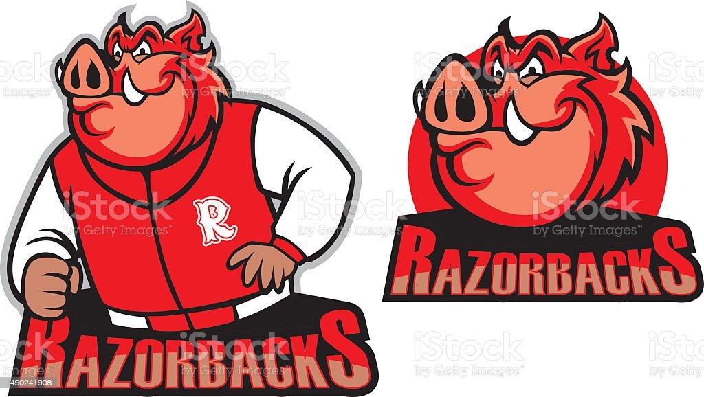 razorback school mascot vector art illustration