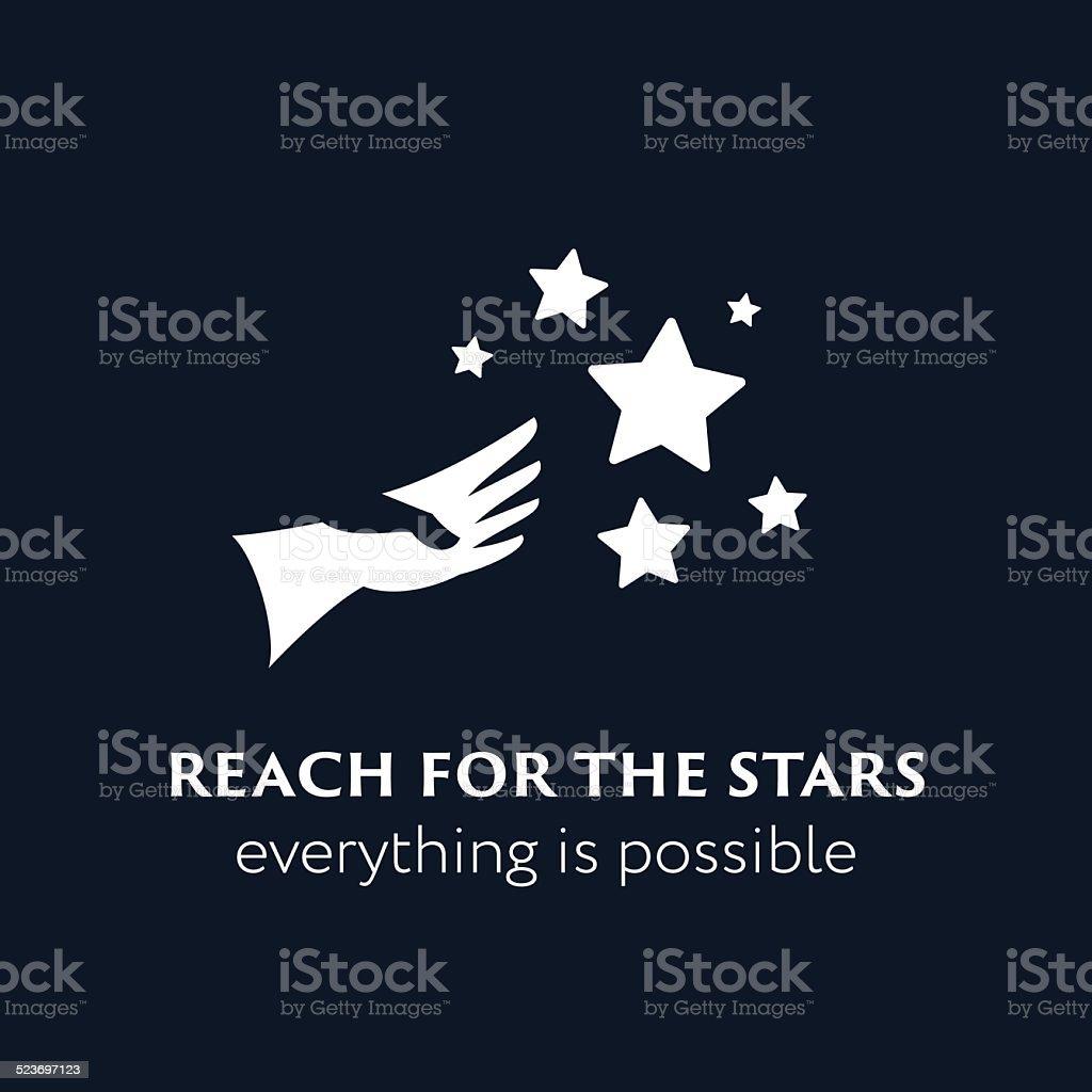 'Reach fo the stars' symbol vector art illustration