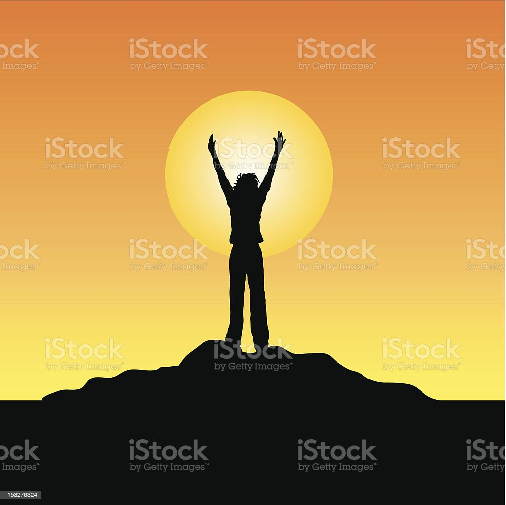 Reach for the sky! royalty-free stock vector art