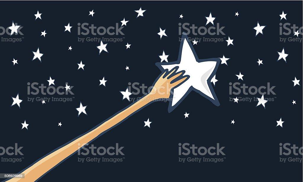 Reach for the stars or success - Horizontal vector art illustration