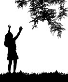 Little girl reaching up to the branch of a tree
