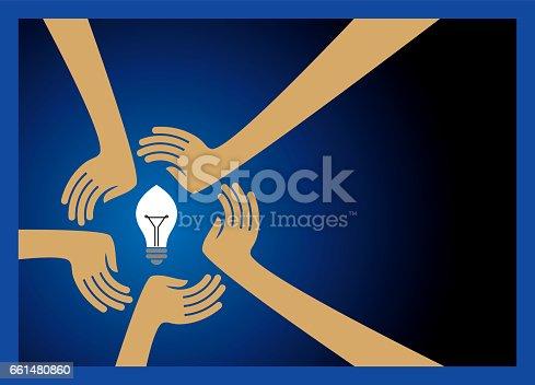 bulb idea with human hands ans save energy.