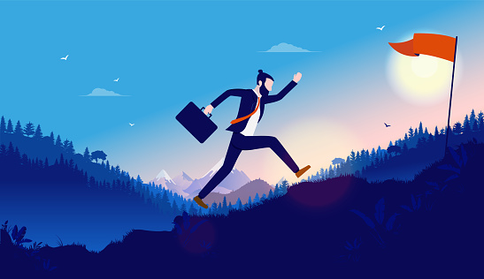 Reach success quick - man running up mountain to achieve his personal career goal