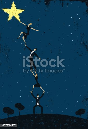 A group of men and women working together to reach a star. The background extends outside the square clipping mask. To edit, select the background and go to OBJECT-> CLIPPING MASK-> EDIT CONTENTS or RELEASE.