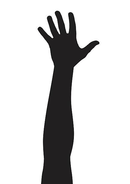 reaching hand vector art illustration