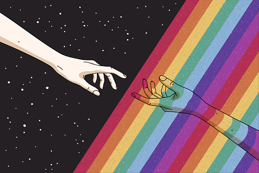 Reaching hands and rainbow in space