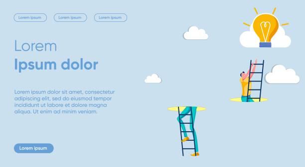 bildbanksillustrationer, clip art samt tecknat material och ikoner med mall för vektormall för sträckhöjder platt målsida - hemsida uppgiven