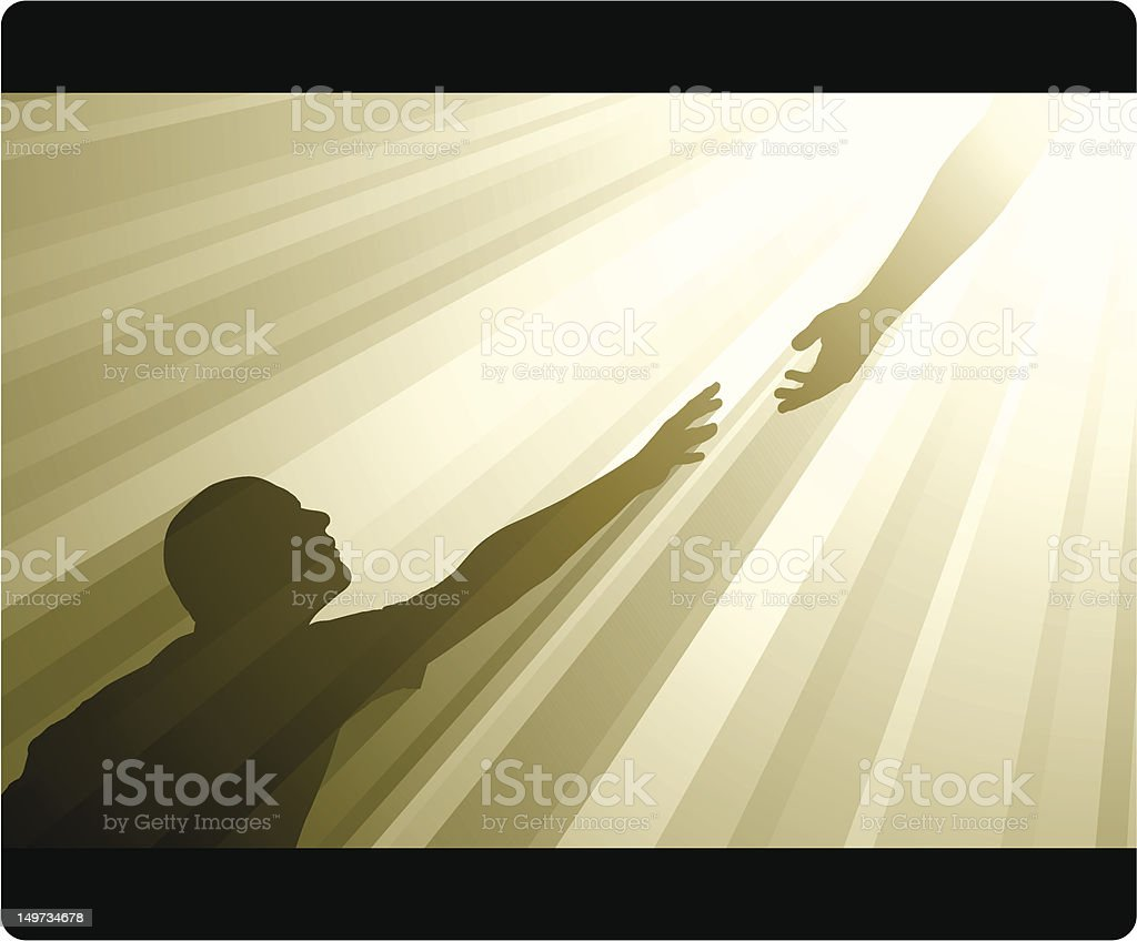 Reaching Out vector art illustration