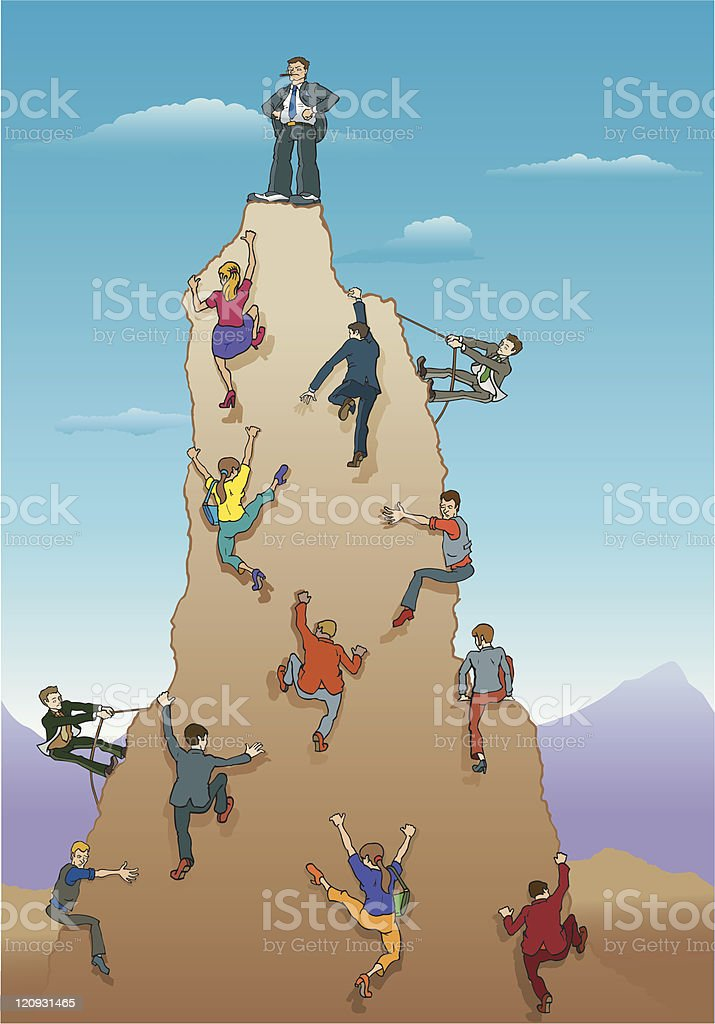 Reaching the Peak royalty-free stock vector art