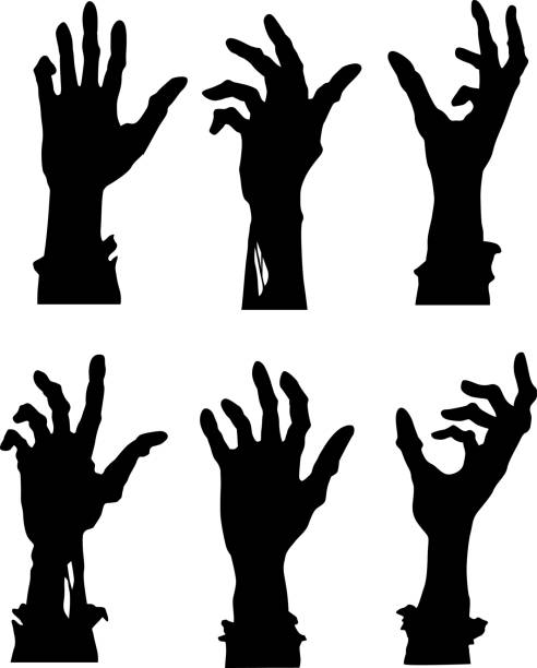 bildbanksillustrationer, clip art samt tecknat material och ikoner med nå zombie händer - zombie