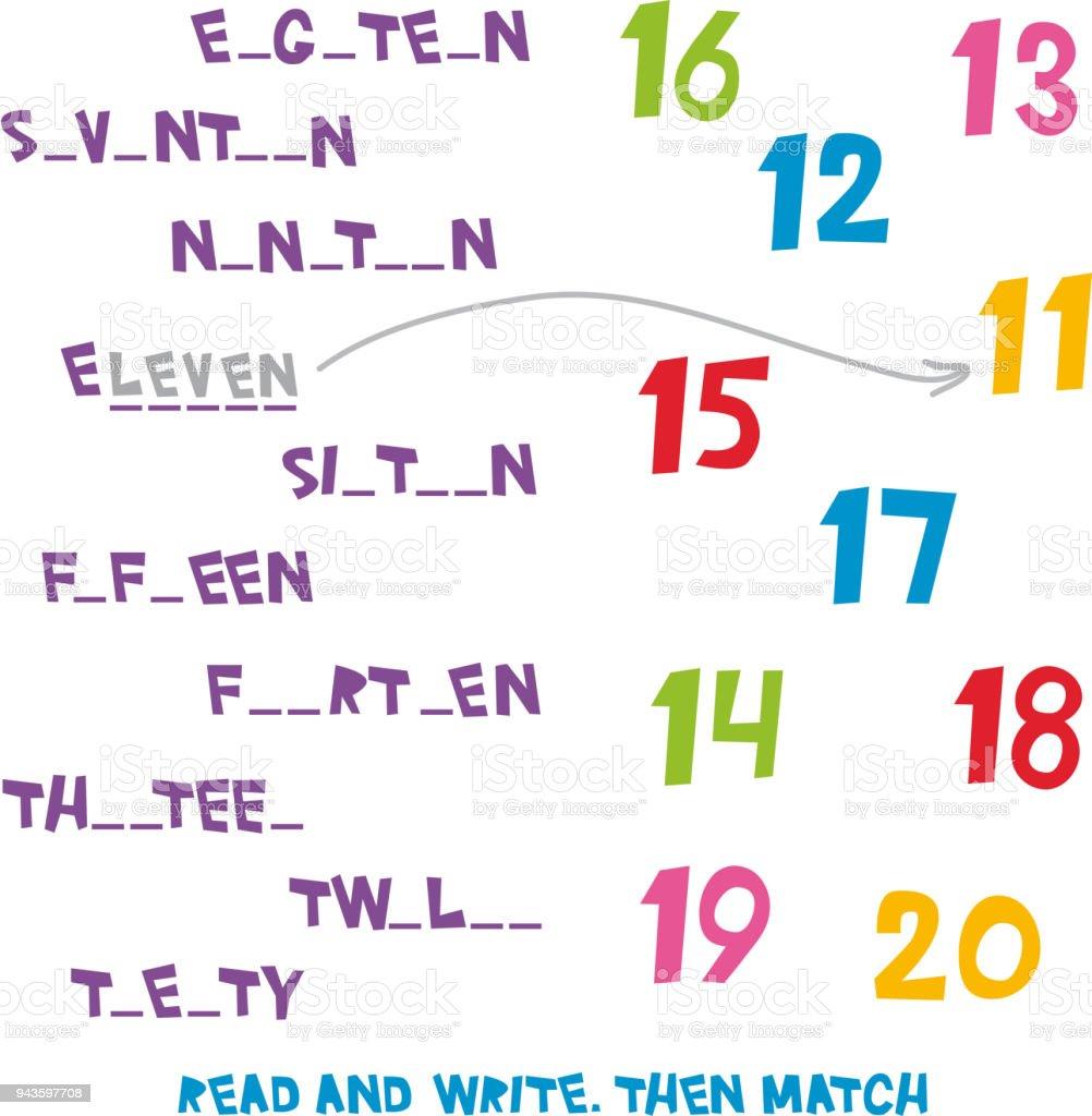 Lesen Und Schreiben Dann Entsprechen Sie Die Zahlen 11 Bis 20 Kinder ...