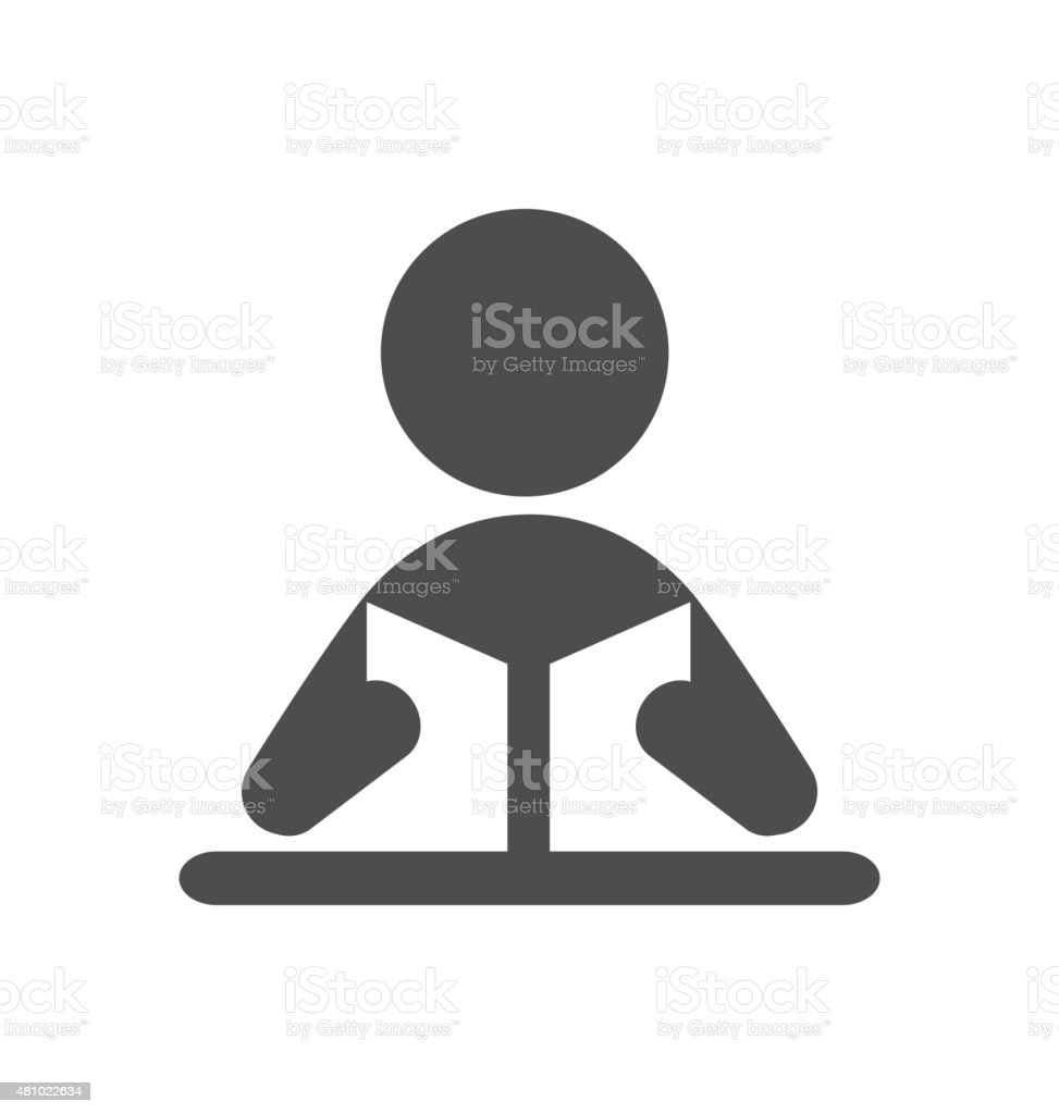 Read book man flat icon pictogram isolated on white vector art illustration