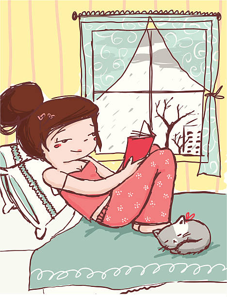 stockillustraties, clipart, cartoons en iconen met read book on rainy day - woman home magazine