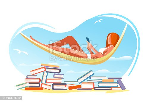 Read book summer beach concept. Holiday, vacation education, studying vector illustration. Girl reads lying in a hammock over piles of books. Modern card for web design isolated on white background.