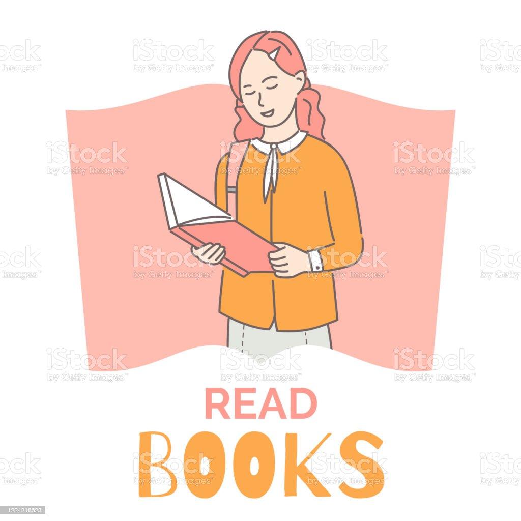 Read Books Banner Design Template Girl Reading Book Cartoon Outline  Illustration Intelligent Intellectual Hobby Stock Illustration - Download  Image