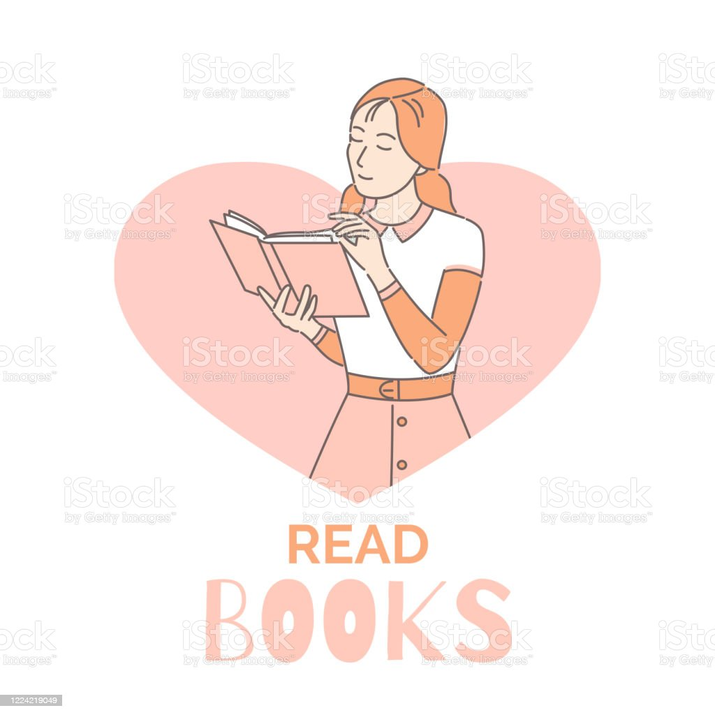 Read Books Banner Design Template Woman Reading Book Cartoon Outline  Illustration Intelligent Intellectual Hobby Stock Illustration - Download  Image