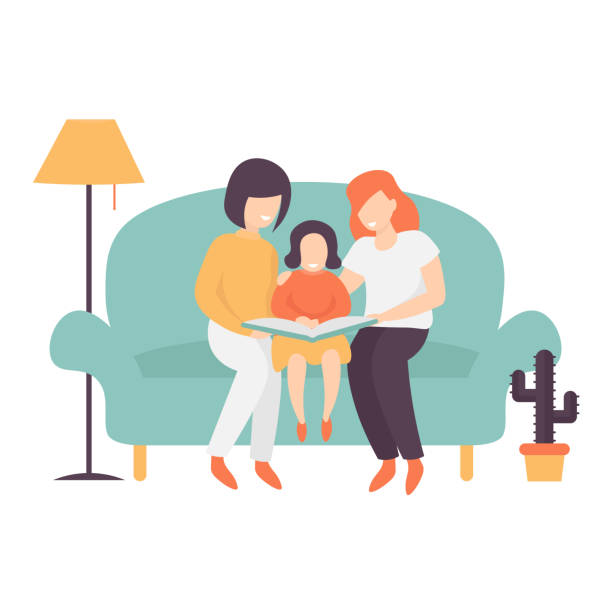 read family mother and mother vector art illustration