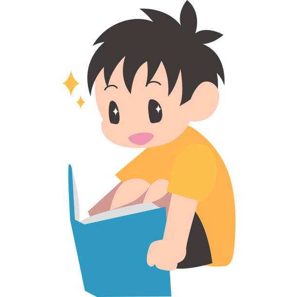 本を読む、座っている男の子 ベクターアートイラスト