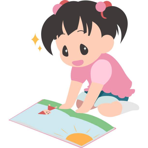 本を読む、座っている女の子 ベクターアートイラスト