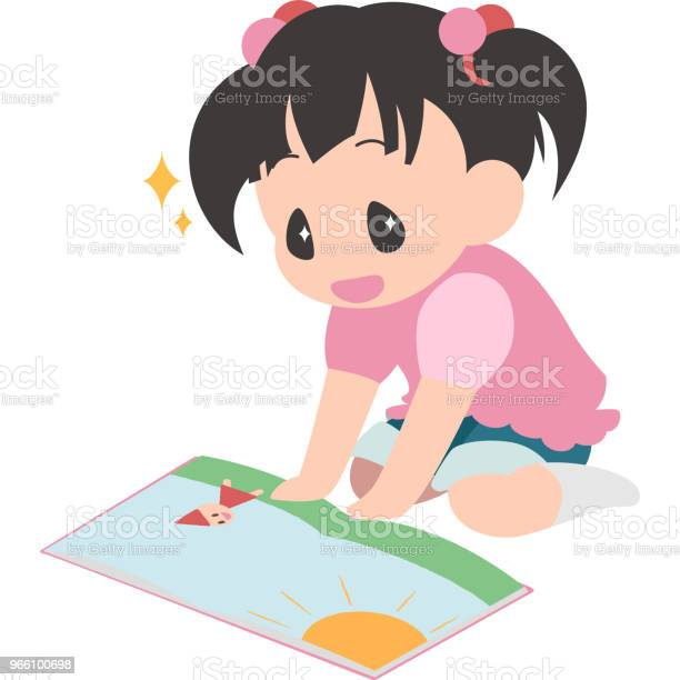 Read The Book Sit Down Girl — стоковая векторная графика и другие изображения на тему Векторная графика
