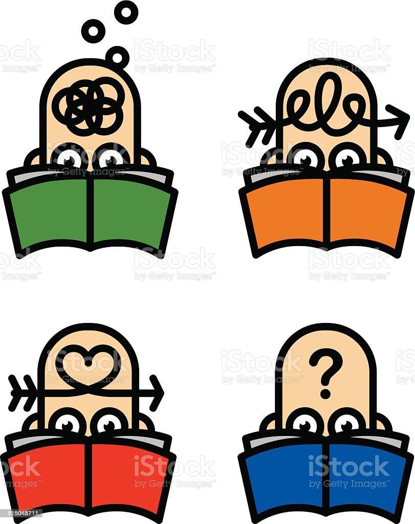 Reader icons vector art illustration