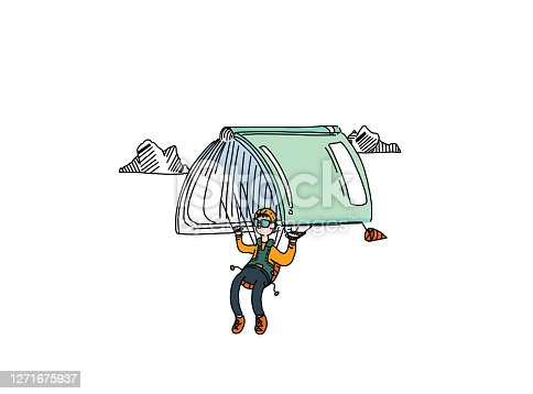 istock Readers escaping into their book or novel while reading stories and tales, soaring trough the sky and parachuting with their books. Enjoying the calm of a story. 1271675937