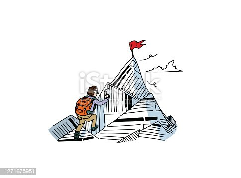 istock Readers escaping into their book or novel while reading stories and tales, surpassing oneself to reach unreachable summits. Stories of explorer and adventurer. 1271675951