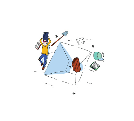 Readers escaping into their books while reading stories, adventures and tales. Enjoying summer and finding incredible treasures, digging and resting on the beach. Simple and clean black and white line illustration with bright color.