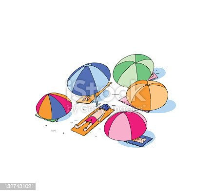 Readers escaping into their books while reading stories, adventures and tales. Enjoying summer and falling asleep on the beach with a book on the face, colorful umbrellas and beach towel all around. Simple and clean line illustration.