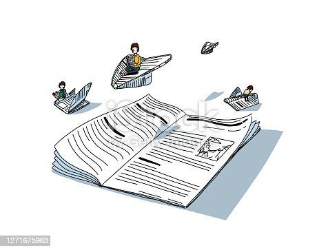 Los lectores escapan a su diario mientras leen noticias e historias, volando por encima hacia diferentes mundos.
