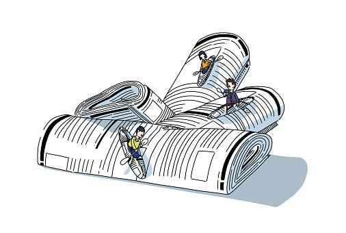 Readers escaping into their journal while reading news and stories, sailing over a waterfall of newspaper.