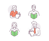Icon set of people characters reading. Male and female students with open books in hands. Man and woman study in library. Education concept. Flat cartoon vector illustration isolated.