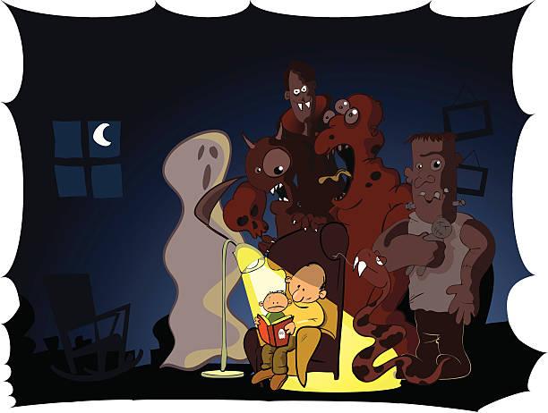 einer ghost story lesen - geistergeschichten stock-grafiken, -clipart, -cartoons und -symbole