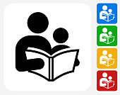 Reading and Children Icon Flat Graphic Design