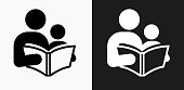 Reading and Children Icon on Black and White Vector Backgrounds. This vector illustration includes two variations of the icon one in black on a light background on the left and another version in white on a dark background positioned on the right. The vector icon is simple yet elegant and can be used in a variety of ways including website or mobile application icon. This royalty free image is 100% vector based and all design elements can be scaled to any size.