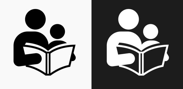 Reading and Children Icon on Black and White Vector Backgrounds Reading and Children Icon on Black and White Vector Backgrounds. This vector illustration includes two variations of the icon one in black on a light background on the left and another version in white on a dark background positioned on the right. The vector icon is simple yet elegant and can be used in a variety of ways including website or mobile application icon. This royalty free image is 100% vector based and all design elements can be scaled to any size. parenting stock illustrations
