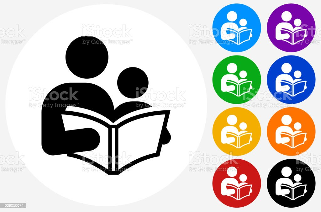 Children Reading Stock Vector Art More Images Of Baby: Reading And Children Icon On Flat Color Circle Buttons