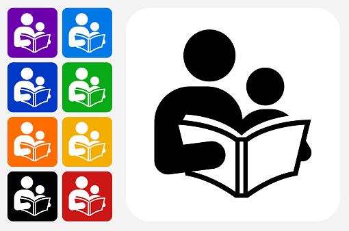 Reading and Children Icon Square Button Set