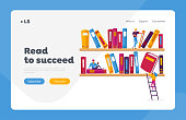 Reading and Education, Media Archive Landing Page Template. People Read and Study, Students Prepare for Exam, Gaining Knowledges. Tiny Characters on Shelf with Huge Books. Cartoon Vector Illustration