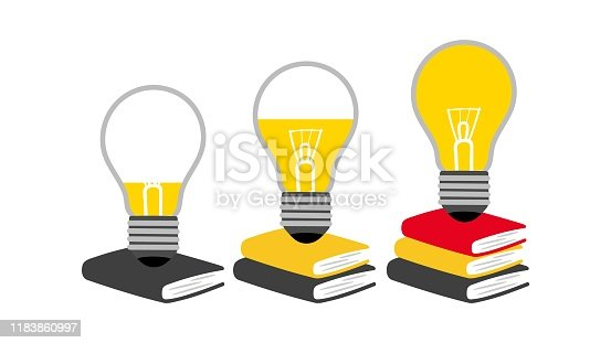 Reading concept. Reading and generating ideas, creative thinking development metaphor. Vector books, light bulbs isolated on white background
