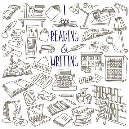 Reading and writing doodle set. Books, magazines, newspapers, letters, piles of books, library catalog, bookshelf, typewriter.